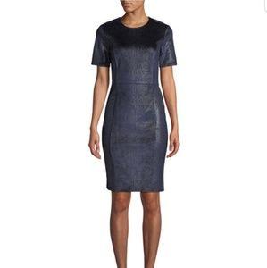 NWT TAHARI Metallic Snakeskin Sheath Dress